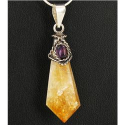 40ct Citrine Crystal & Amethyst Sterling Pendant (JEW-1721)