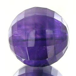 11.82ct Faceted Uruguay Purple Amethyst Round Bead (GEM-48238)