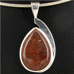 32.75twc Red Moss Agate Sterling Pendant (JEW-3925)