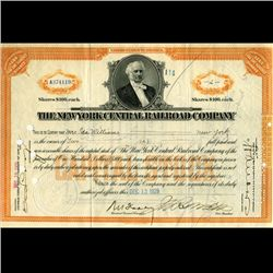 1928 NY Central Railroad Stock Certificate pre-Depression (CUR-06633)