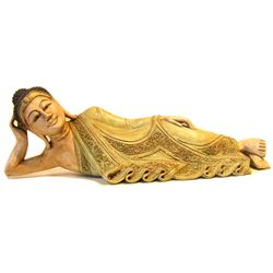 Reclining Buddha Hand Carved of Monkey Pod (CLB-998)