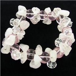400twc Natural Rose Quartz Crystal Bracelet (JEW-3455)