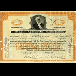 1920s NY Central Railroad Stock Cert w/ SCARCE Transfer Stamps (CUR-06573)