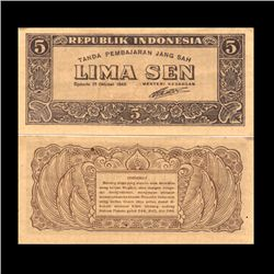 1945 Indonesia 5 Sen Note Crisp Unc (CUR-06751)