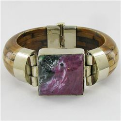 640ct Bone & Ruby Zosite Bangle Bracelet (JEW-3862)