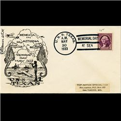 1933 USS 3c Texas Memorial Day Cover RARE (STM-1679)
