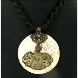 Tibet Shell Nickel Turquoise Pendant Necklace (ANT-1088)