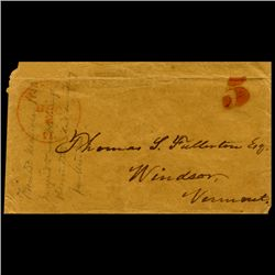 1840s VT Stampless Cover SCARCE (STM-2023)