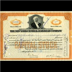 1929 NY Central Railroad Stock Cert w/ SCARCE Transfer Stamps (CUR-06619)