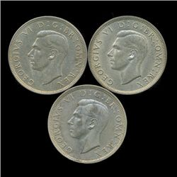 1941-42 Britain Silver 1/2 Crown AU 3pcs (COI-8883)