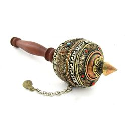 Tibet Bronze Prayer Wheel with Handle (ANT-2044)