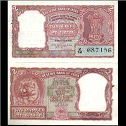 1957 India 2 Rupee Crisp Uncirculated Red Variety (CUR-06198)