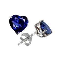 Genuine 2.50 ctw Heart Sapphire Stud Earrings 14kt