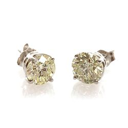 Certified 2.60 ctw Diamond Stud Earring 14k White Gold