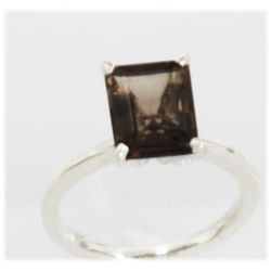 Natural 1.29 ctw Smokey Topaz 6x8 Ring .925 Sterling