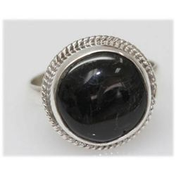 Natural 23.83 Ctw Black Onex Ring .925 Sterling Silver