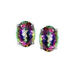 Genuine 3.20 ctw Mystic Topaz Oval Cut Earring Studs 14