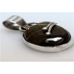 Natural 22.86 ctw Tiger Eye Oval Pendant .925 Sterling