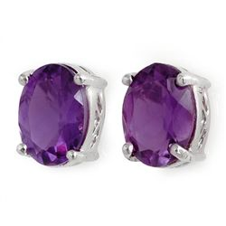 Genuine 3.50 ctw Amethyst Stud Earrings 14kt Gold-White