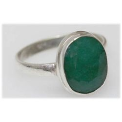 Natural 18.45 Ctw Emerald Oval Ring .925 Sterling