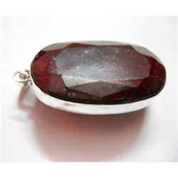 Natural 221 CTW. Ruby Long Oval Pendant .925 Sterling