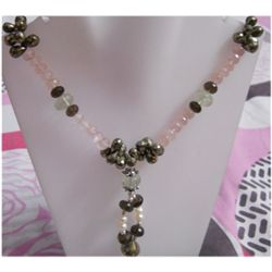 Natural 318.35ct Pink Topaz/White Topaz Necklace .925 S