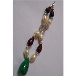 Natural 80.05ct Pearl,Emerald,Ruby Pendant .925 Sterlin