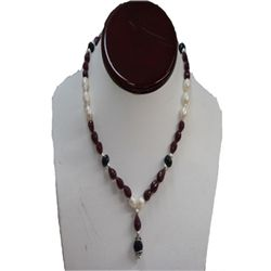 Natural 173.50ct Ruby,Pearl,Sapphire Necklace .925 Ster