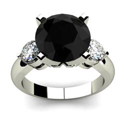 Genuine 4.90 ctw Black Diamond Ring Whte/Yllw Gold 14kt