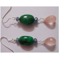 Natural 49.30 ctw Semi Precious Earring .925 Sterling