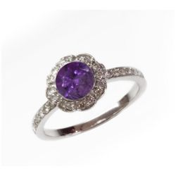 Natural 1.37 ct 3.38g Amethyst & Diamond 14k WG Ring