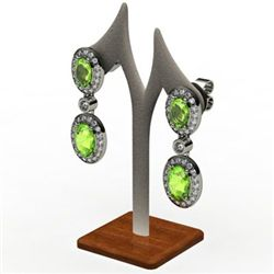 Peridot 3.70 ctw Diamond Dangling Earring 14k W/Y Gold