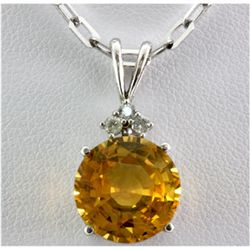 Genuine 10.26 ctw Yellow Sapphire Diamond Necklace 14k