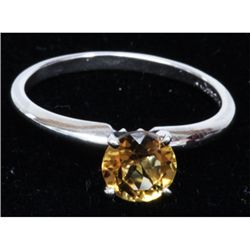 Natural 0.75ctw Citrine .925 Sterling Silver Ring