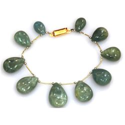 Natural Milky Calm Green Aquamarine Bracelet 177 ctw