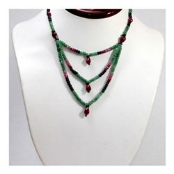 Natural 112.18 ctw Sapphire Ruby Emerald Bead Necklace