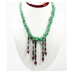 Natural 253.88 ctw Emerald Sapphire Ruby Bead Necklace
