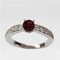 Natural 1.73 ct 3.51g Garnet & Diamond 14k WG Ring