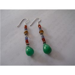 36.20 ctw Emerald and Semi Precious Earrings .925 Sterl