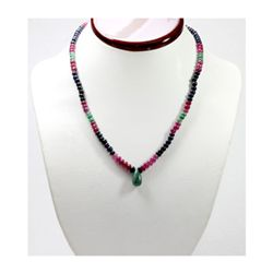 Natural 128.39 ctw Emerald Ruby Sapphire Bead Necklace