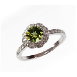 Natural 1.27 ct 3.38g Peridot & Diamond 14k WG Ring