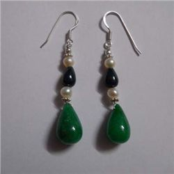40.0 ctw Saphire and Emerald Earrings .925 Sterling