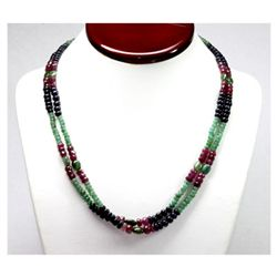 Natural 232.47 ctw Emerald, Ruby Sapphire Bead Necklace