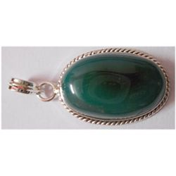 Natural 40.95 ctw Green Onex Oval Pendant 925 Sterling