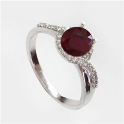 Natural 1.75 ct 3.51g Ruby & Diamond 14k WG Ring