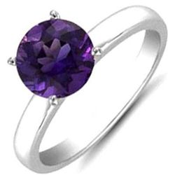 Amethyst 1.10 ctw Solitaire Ring 14kt W/Y  Gold