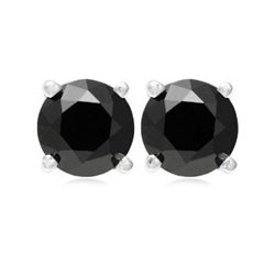Genuine  Black Diamond 1.0 ctw Earring 14K W/Y Gold