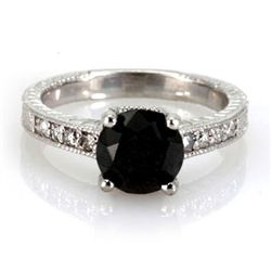 Genuine Black Diamond 2.94 ctw Diamond Ring 18k W/Y Gol