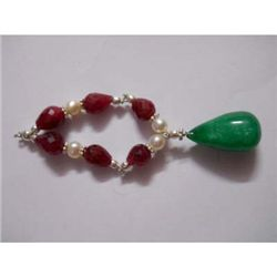 65.0 ctw Ruby Pearl and Emerald Bracelet .925 Sterling
