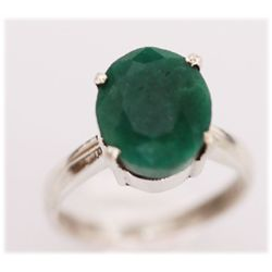 NATURAL 17.00 CTW EMERALD OVAL RING .925 STERLING SILVE